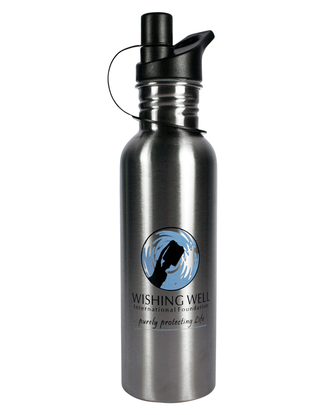 Wishing Well International Foundation WW-750, Stainless Steel Sports Bottle - 750 ml